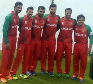 লাল রঙের নতুন জার্সিতে বাংলাদেশ জাতীয় ক্রিকেট দল